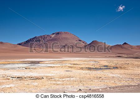 Pictures of frozen lagoon in Atacama desert, Chile csp4816558.