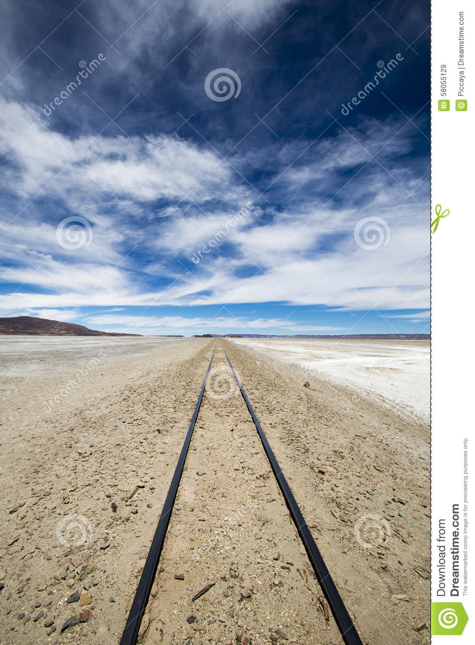 Railway In Atacama Desert, Uyuni Desert, Bolivia Stock Photo.