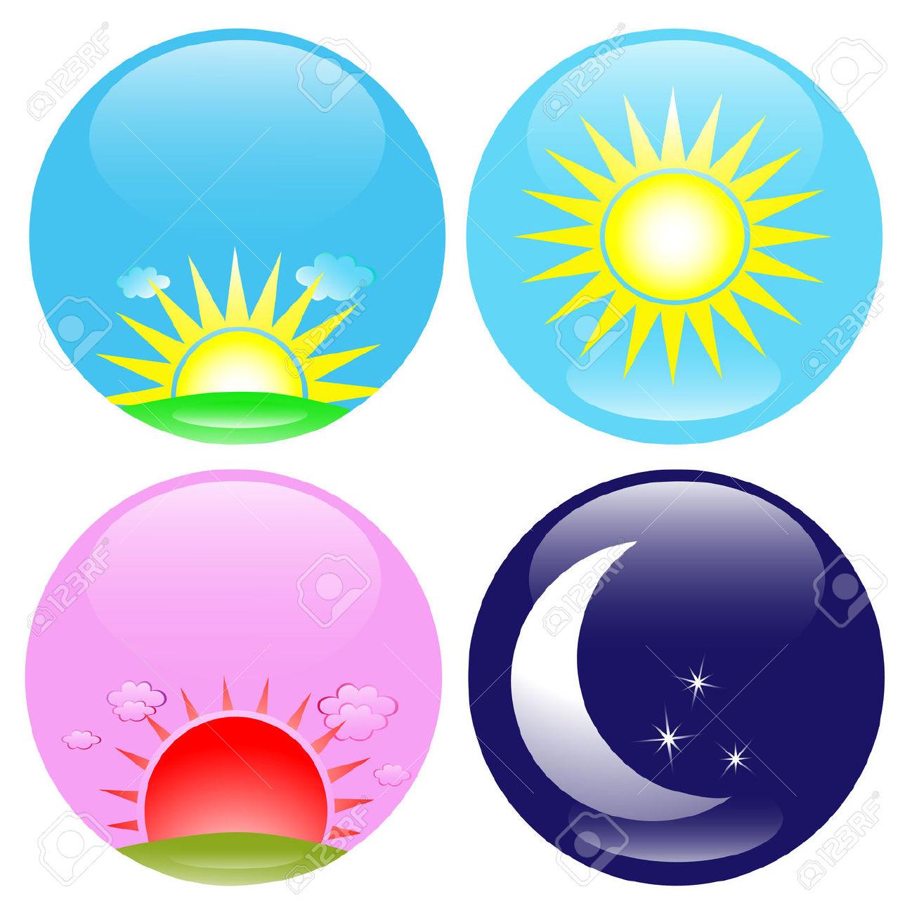 Día, Noche, Amanecer Y Atardecer Icono Conjunto Ilustraciones.