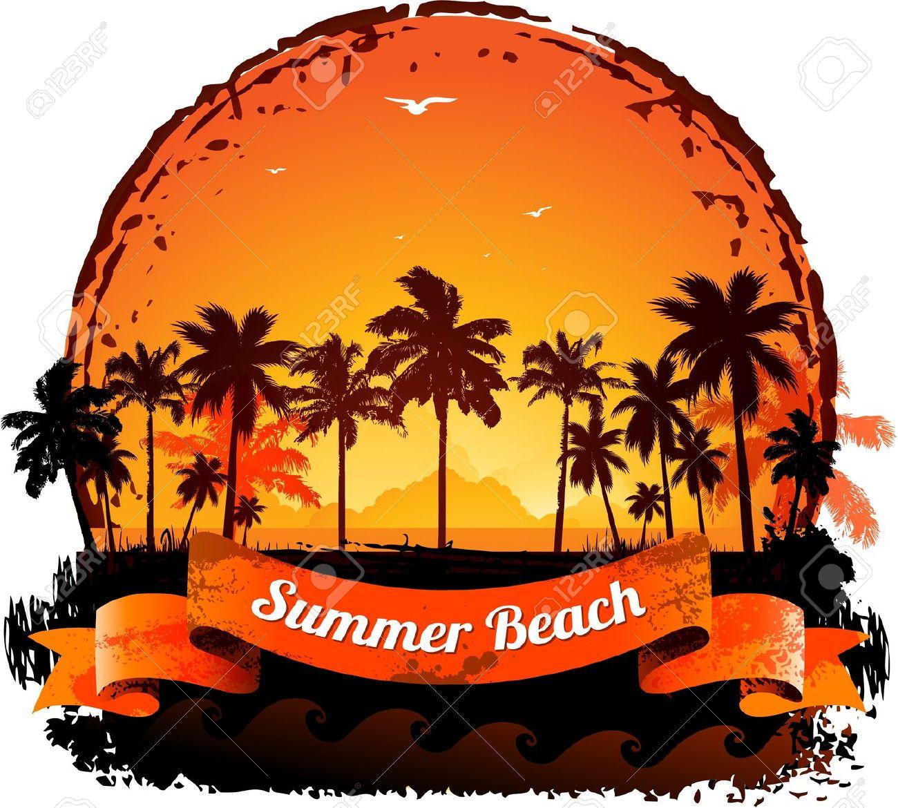Vacaciones De Verano Tropical Atardecer De Fondo Ilustraciones.