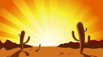 Clip Art De Cactus Del Desierto Al Atardecer.