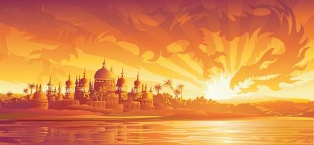 Vector ciudad al atardecer Tailandia, archivo vectorial.