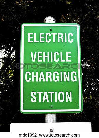 Stock Photo of Charging station sign for electric vehicles, bank.