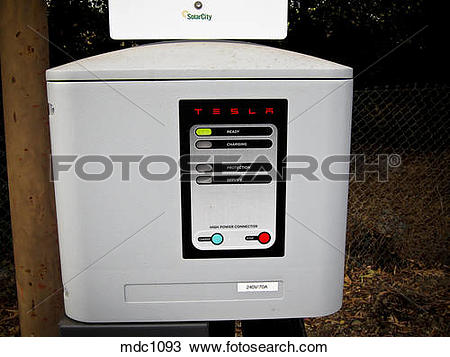 Stock Photo of Tesla charging station box for electric vehicles.