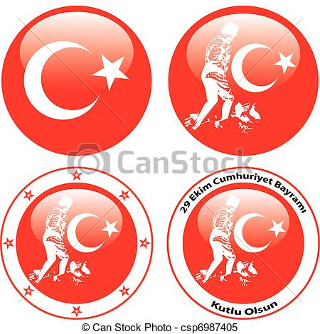 Clipart Vector of illustration of flag of turkey and Ataturk.