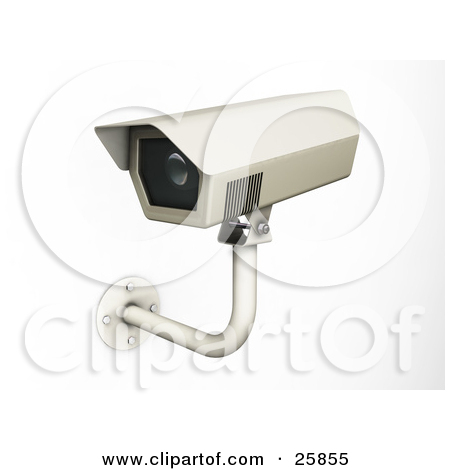 Clipart Illustration of a Wall Mounted Security Camera Viewing.