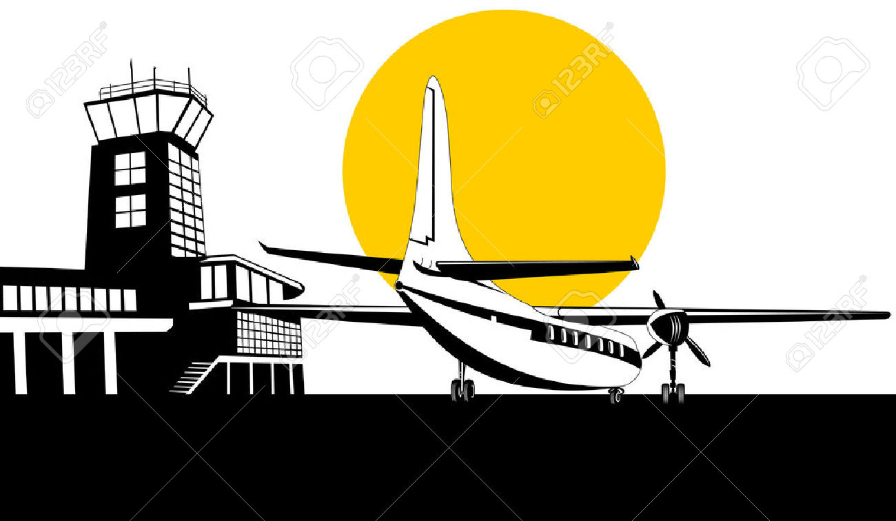 Propeller Airplane With Control Tower In Background Royalty Free.