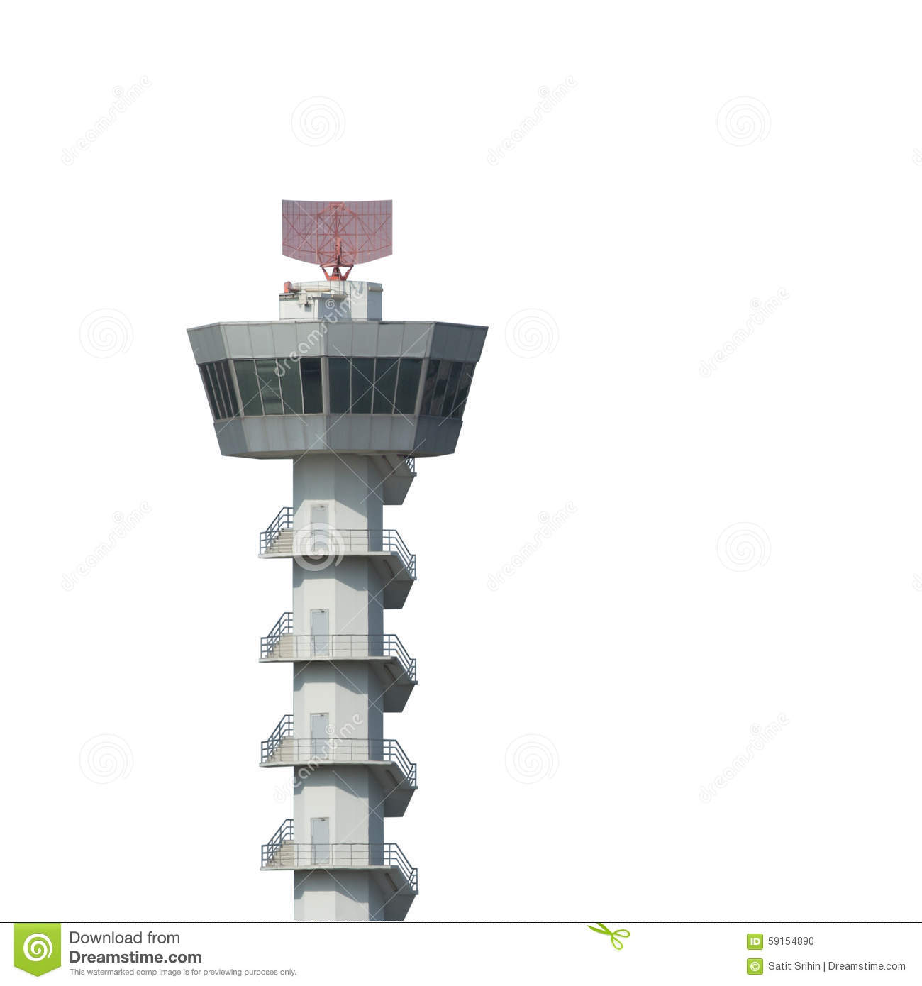 Closeup Of Airport Air Traffic Control Tower Royalty Free Stock.