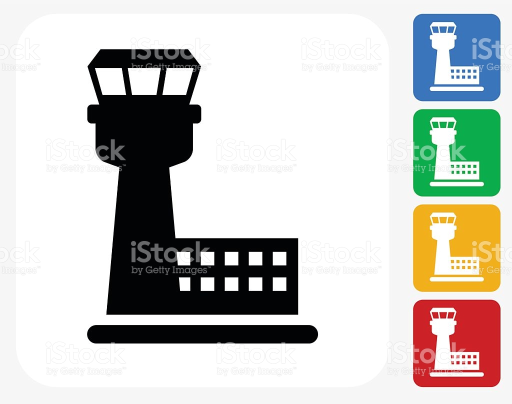 Air Traffic Control Tower Icon Flat Graphic Design stock vector.