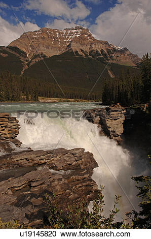 Stock Photography of Athabasca Falls, Jasper National Park, Canada.