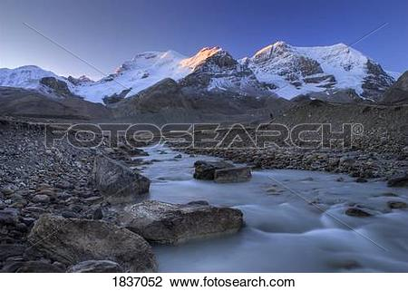 Stock Photo of Columbia Icefield, Mount Athabasca, Mount Andromeda.