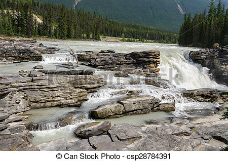 Stock Photographs of Athabasca River and roks in Canada.
