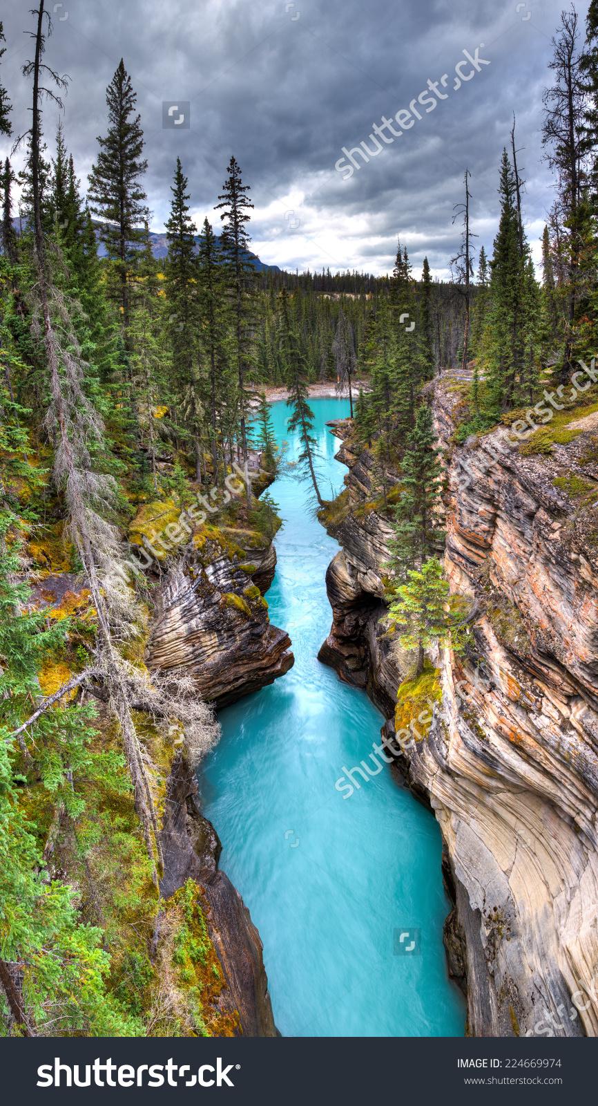 Athabasca Falls Canyon Jasper National Park Stock Photo 224669974.