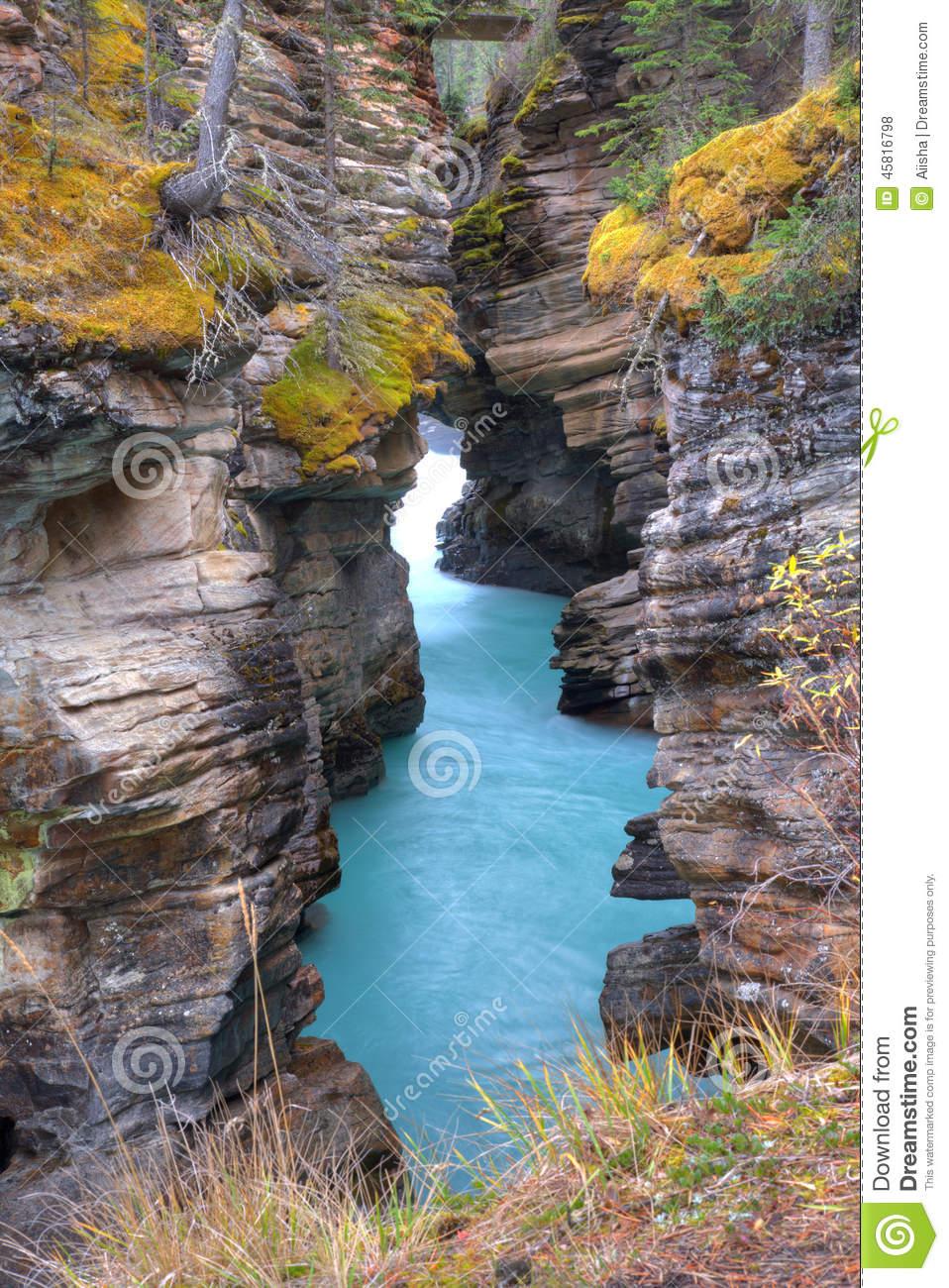 Athabasca Falls Canyon Stock Photo.