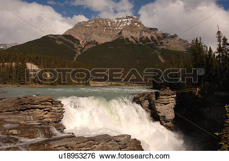 Stock Images of Athabasca Falls, Jasper National Park, Canada.