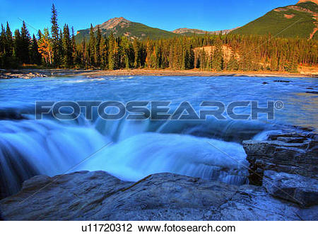 Stock Photo of athabasca falls in jasper national park river.