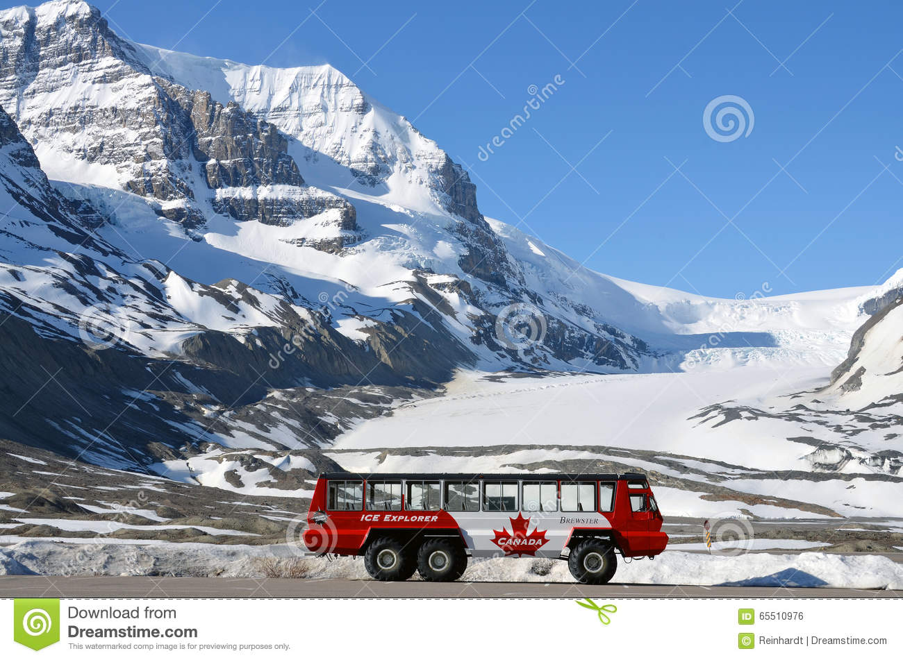 Athabasca Glacier, Columbia Icefield, Ice Explorer Editorial Photo.
