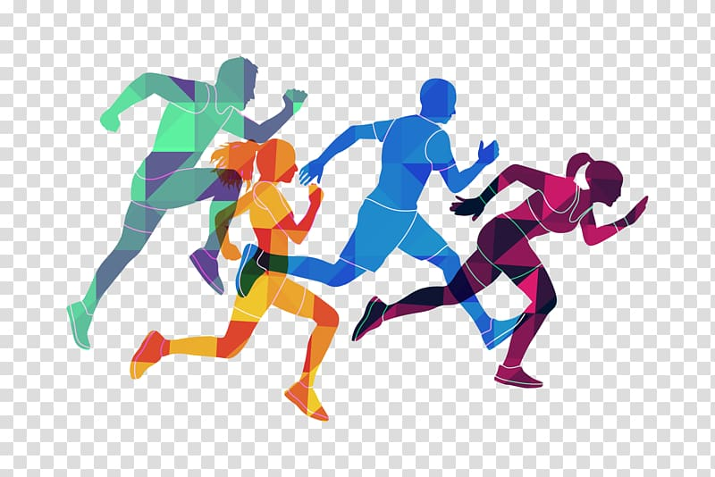 Group of people running , Athlete transparent background PNG.