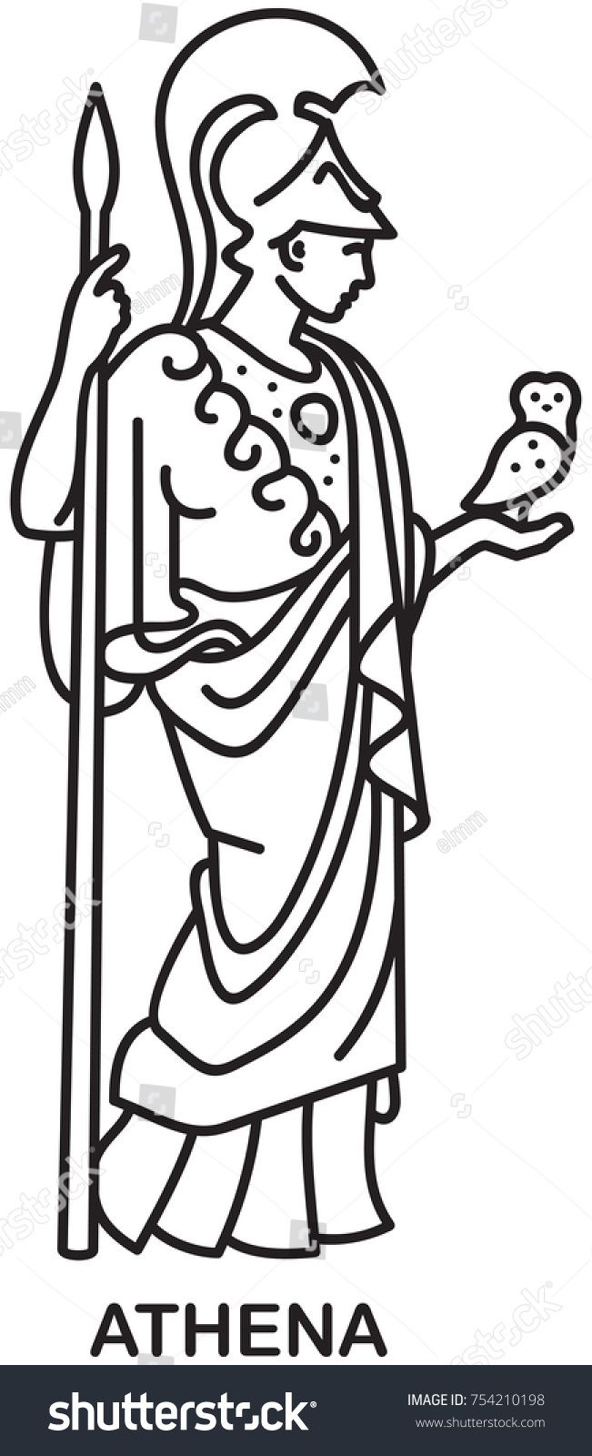 Athena, Ancient Greek goddess of wisdom, craft, and war line draw.