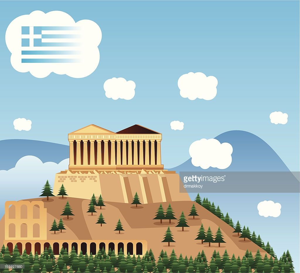 Clipart of a building in Athens. RF. Greece Skyline in 2019.