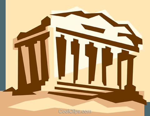 Acropolis in Athens Greece Royalty Free Vector Clip Art illustration.