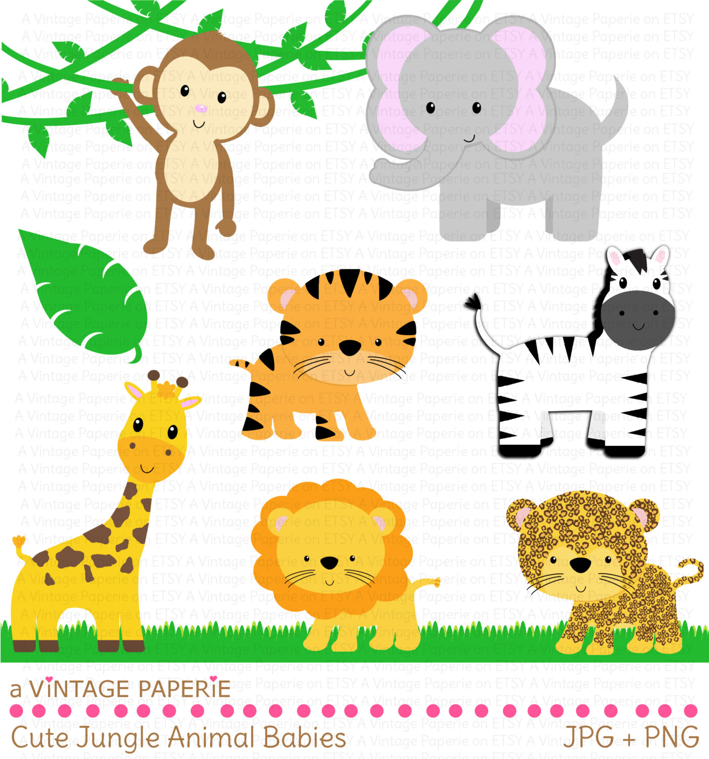 Jungle Animal Border Clipart.