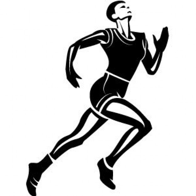 Black Female Athlete Running Clipart.
