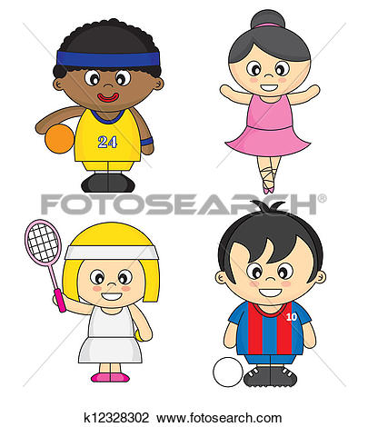 Clipart of Children dressed as athletes k12328302.