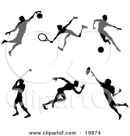 Clipart of a Black Silhouetted Male Soccer Player Athlete in.