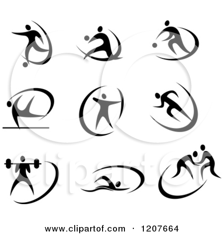 Clipart Of A Black And White Archer Athlete.