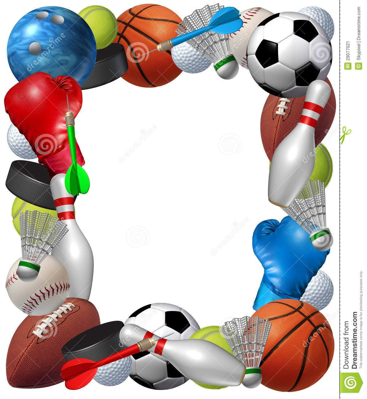 55 Awesome sports themed border clip art.