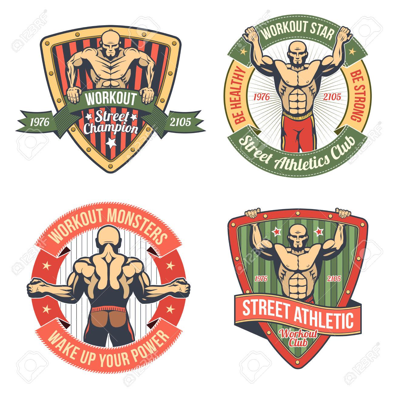 Retro Emblem Of Athletic Club. Street Workout Logo. Royalty Free.