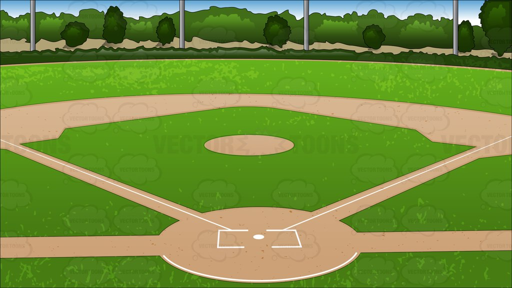 Baseball Diamond Background Cartoon Clipart.
