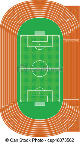 Clip Art Vector of running track and soccer field.