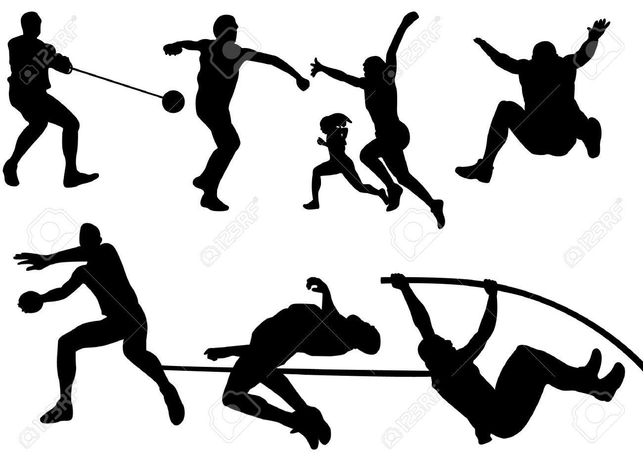 A set of Sport Field and Track Game Athletic silhouette.