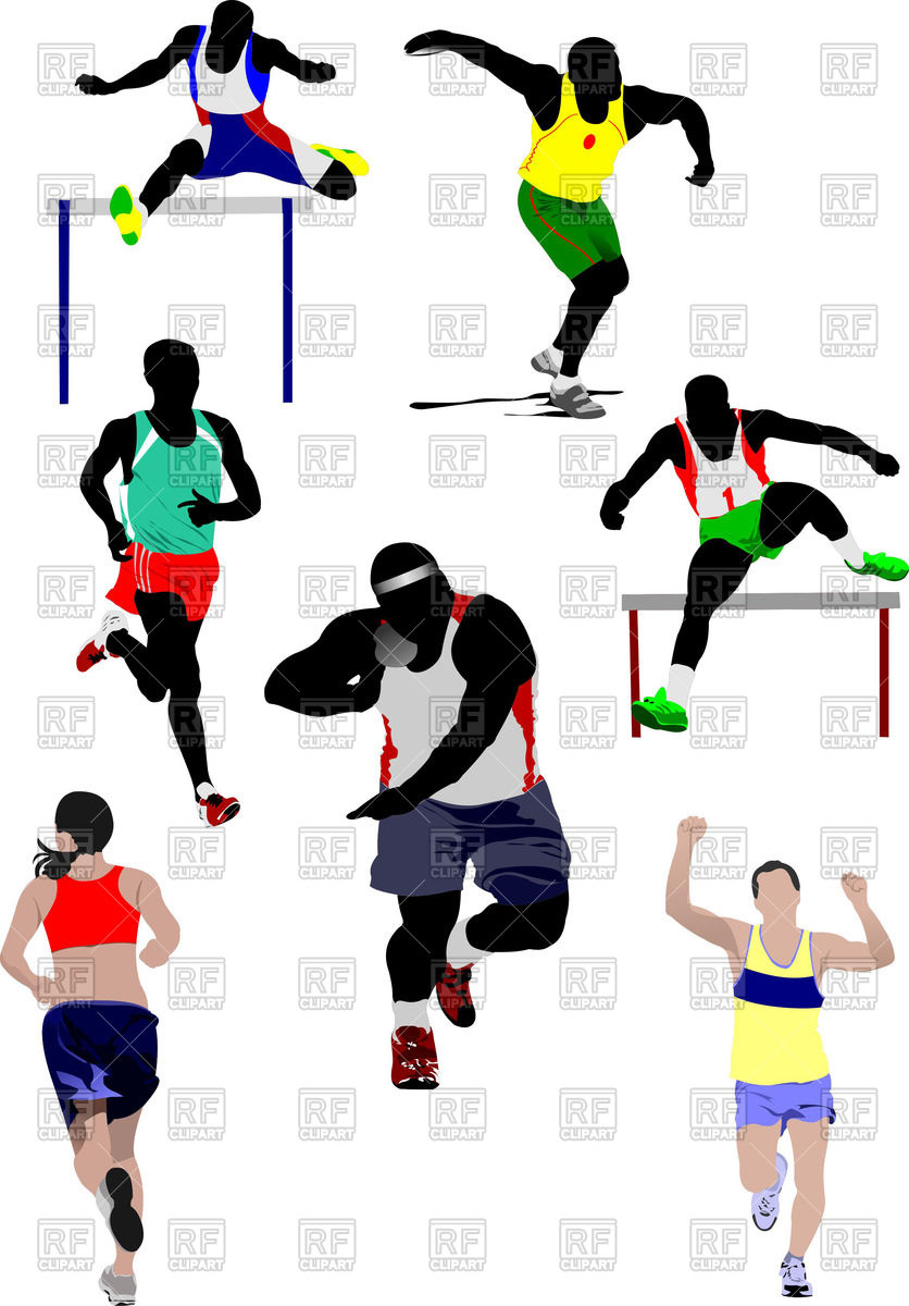 Colorful silhouettes of athletics Stock Vector Image.