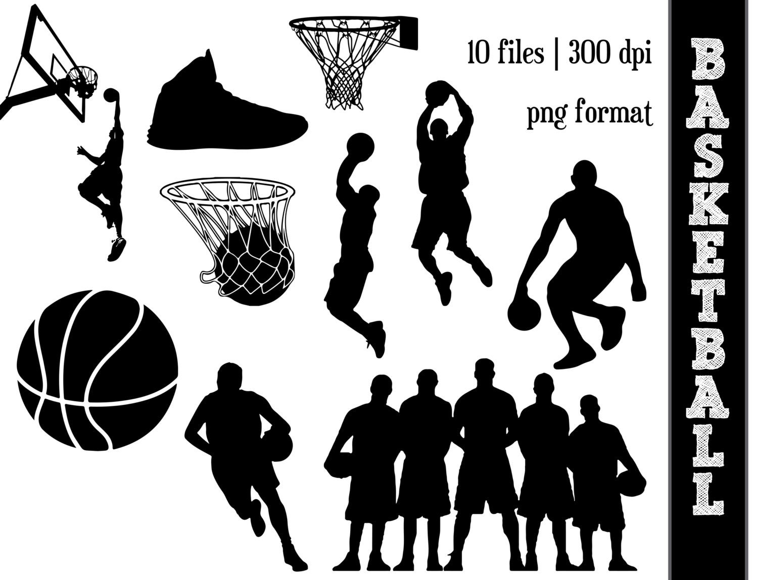 Basketball Silhouettes // Sports Silhouette // Ball Clipart // Athletic,  Athlete Silhouettes // Basketball Hoop.