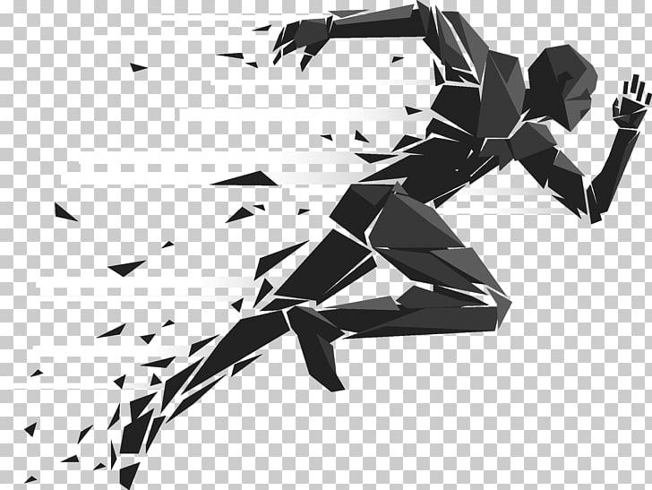 Running Sport Silhouette Illustration, race, man running.