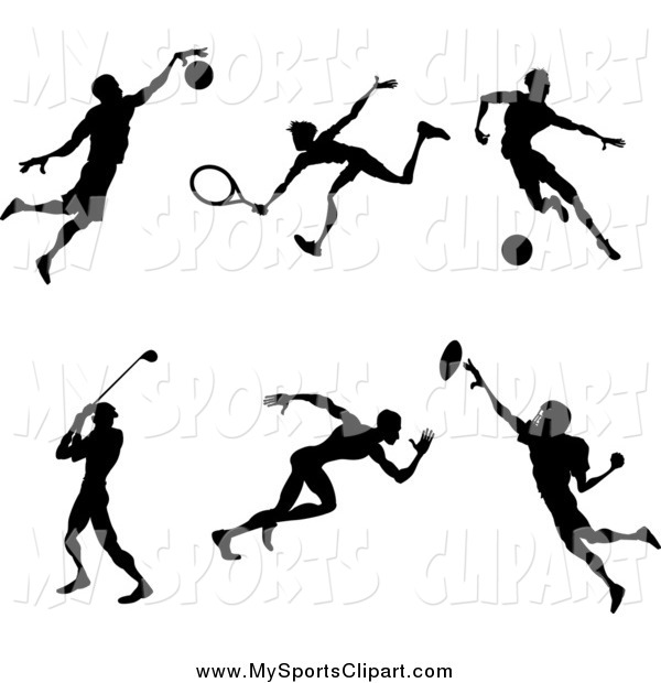 Sports Clip Art of Silhouetted Male Athletes Playing Basketball.