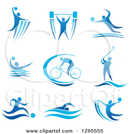 Clipart of a Blue Athletic Man Engaged in Different Sports.