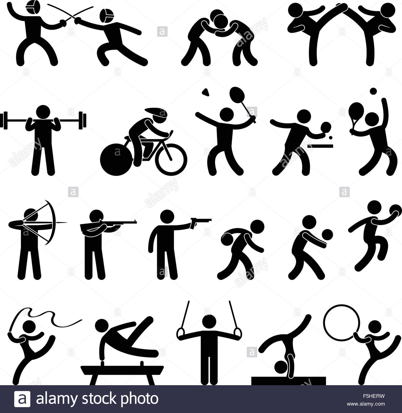 Indoor Sport Game Athletic Set Icon Symbol Sign Pictogram Stock.