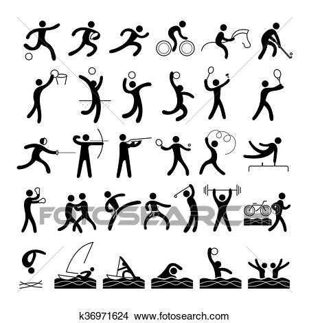 Sports Athletes, Symbol Set Clipart.