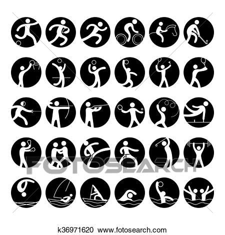 Sports Athletes, Symbol Icon Set Clipart.