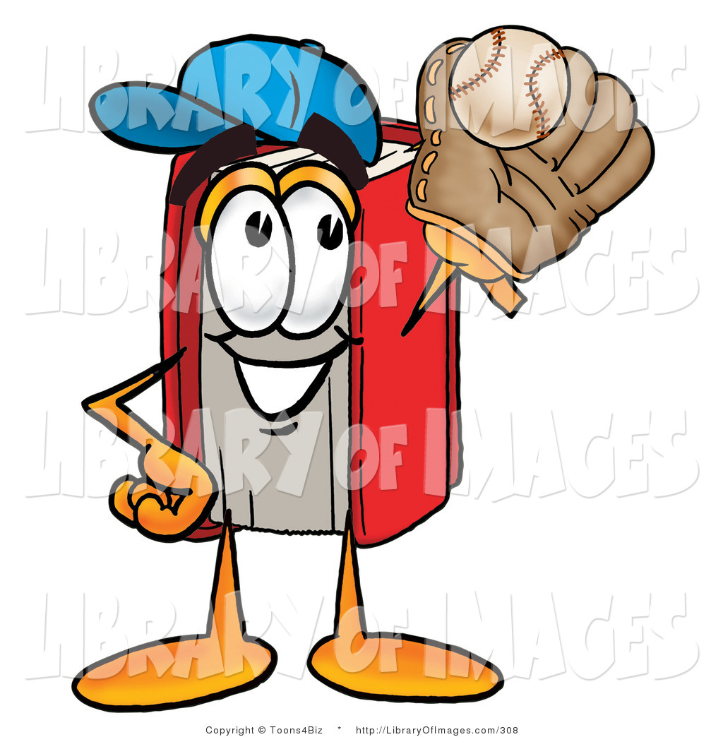 Clip Art of an Athletic Red Book Mascot Cartoon Character.