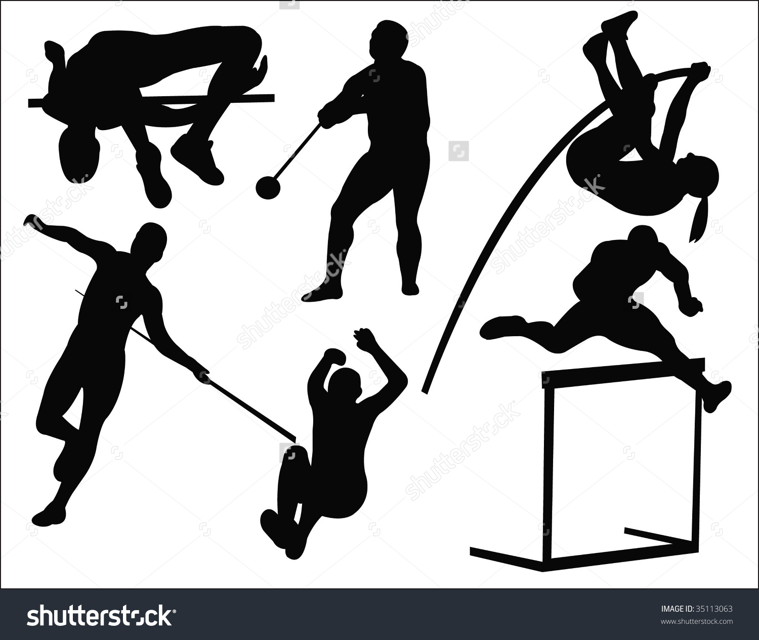 Athletics clipart black and white.