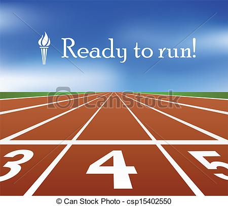 Clipart Vector of Running track with torch symbol csp15402550.