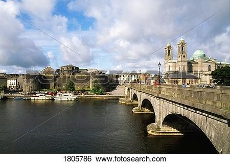 Stock Images of Co Westmeath, Athlone Castle And Bridge, Over.
