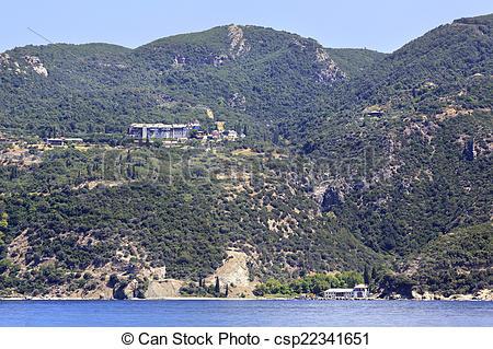 Stock Images of Xeropotamou monastery. Holy Mount Athos.