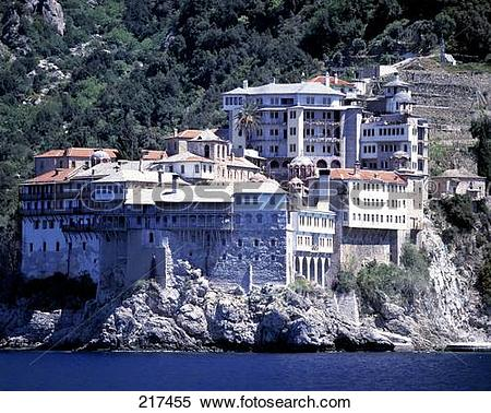 Stock Image of Monastery on hill, St. Gregorios Monastery, Mount.