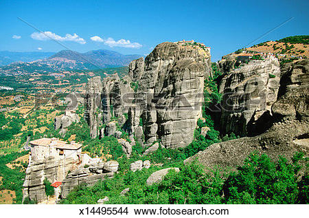 Stock Photo of Roussanou Monastery on Mount Athos in Meteora.